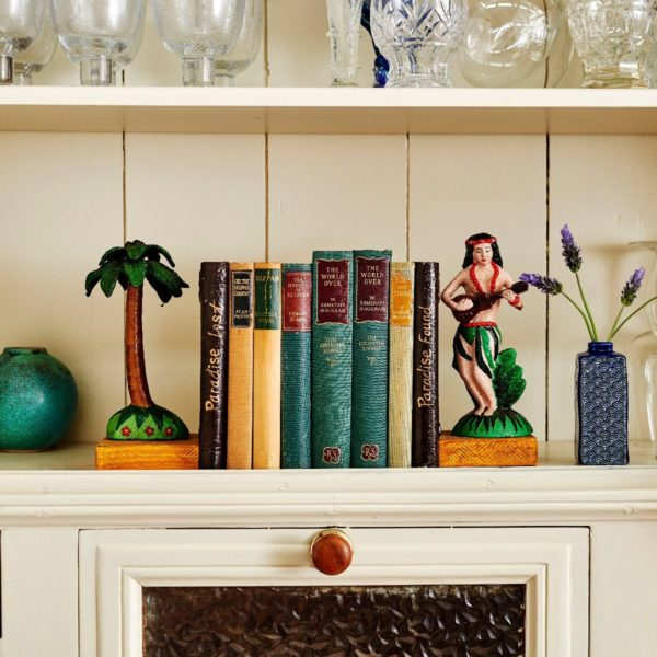Hula Girl And Palm Tree Bookends